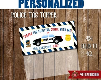 POLICE Treat Bag Topper, Police Car, Birthday Printable, Thank you Tag, Police Party Favor, Tag, Police Man, PDF, Treat Bag, Bag Topper