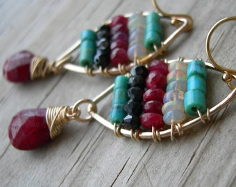 Ruby Tapestry Statement Earrings woven Floating Turquoise Opal Black Spinel Gold Frame Earrings