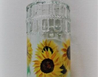 Sunflower Oil Bottle Sunflowers Oil and Vinegar Bottle Sunflower Glass Bottle Hand Painted Sunflower Oil Bottle