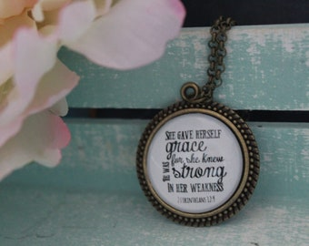 Charm glass pendant necklace She gave herself grace