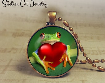 "Frog Valentine Necklace - 1-1/4"" Circle Pendant or Key Ring - Frog Hugging Heart - Holiday Present or Gift for Frog Lover"