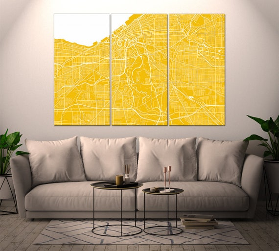 Cleveland Ohio / City Map / Canvas Print / Wall Art / Large 3