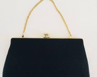 Elegant Vintage 50's  Black Satin  Clutch Chain Evening Bag Gold Tone Clasp