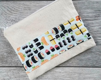 Sushi Print -- Snack / Sandwich / Quart / Gallon Size Reusable Bag -- Natural Canvas -- Made to Order