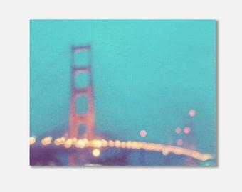 San Francisco canvas wrap, Golden Gate bridge at night, abstract photo, bokeh photography, blue gold, dreamy photo, California, dorm decor