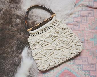 Vintage Macrame Bag Timeless Eclectic Boho Bamboo Bag Handbag Handwoven White Bag Womens Handbag Macrame Bags And Purses Macrame Bag Boho