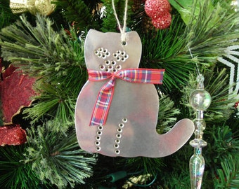 Cat Ornament Metal Old Fashioned Rustic Tin Punch Hand Cut By Larry West
