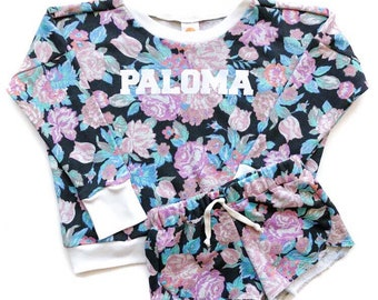 Set sale! Custom Floral Name Sweatshirt & matching Floral Shorties