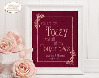 You are my today and all of my tomorrows, Wedding Welcome sign, Art nouveau wedding, Rose gold wedding sign, rose gold wedding decor,