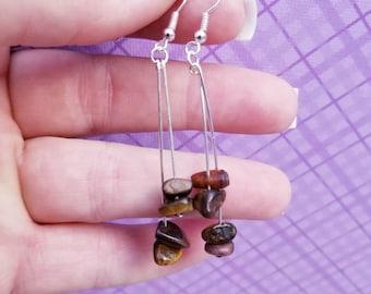 Mothers day gift, Earrings, Tigers eye earrings, dangling earrings, gemstone earrings
