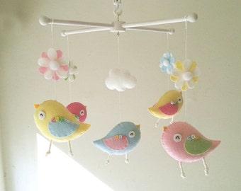 """Baby crib mobile, Bird mobile, felt mobile, nursery mobile, baby mobile,""""Creamy birds"""""""