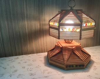 Popsicle Stick Lamp with Old Marbles. Wood Lamp Boho Decor. Unique Vintage Handmade Lamp.