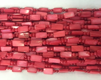 Peach red coral beads, rectangle and round, 1 strand