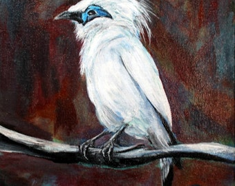 """Bird original acrylic painting 11"""" x 14"""" stretched canvas, original painting, unframed office art, wall decor, home decor, wildlife painting"""