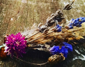 Meadow and forest rustic boutonniere hand foraged and made