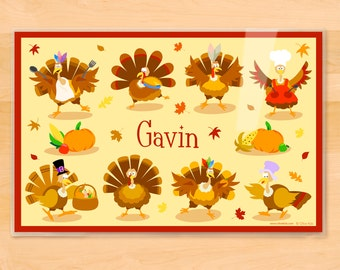 Olive Kids Personalized Turkey Placemat, Kids Placemat, Thanksgiving Placemat, Holiday Placemat, Laminated Placemat
