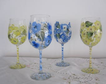Wine Glasses with floral design green leaves hand painted Wine lovers, Floral Glasses, Housewarming, Birthday, Gift for her, Anniversary