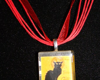 "Chat Noir Black Cat - Glass Necklace Vintage Painting  18"" ribbon cabochon"