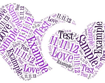 Double Heart Word Art Personalised Gift. Free P&P
