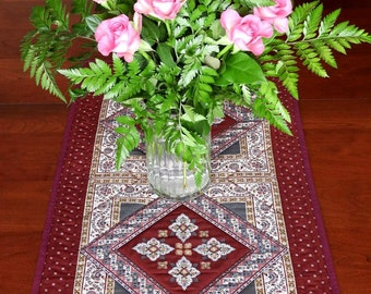 Quilted Table Runner, Burgundy and Grey