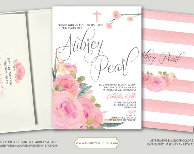 Pink Floral Baptism Invitation // Pink Flowers // Stripes // Blush // Communion // Religious // Watercolor // MELBOURNE COLLECTION