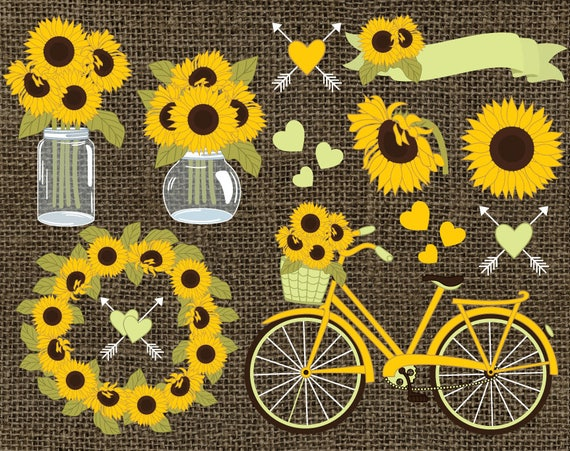Sunflowers Clipart Vector Rustic
