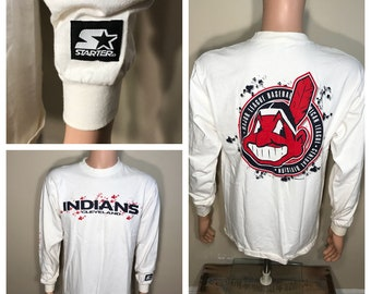Vintage Cleveland Indians shirt // Chief wahoo // big logo // rare long sleeve tshirt // made by starter // adult size medium // splatter