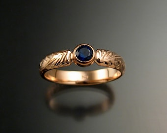 Sapphire Natural Cornflower blue  Wedding ring 14k rose Gold Victorian bezel set ring made to order in your size