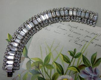 Vintage 1950s Clear Baguette Rhinestone Silver Link Bracelet    OEU18