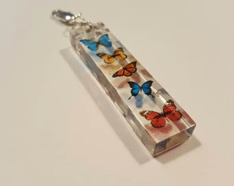 "Transparent Butterflies in Resin Pendant Charm for Necklace 1.25"" - Clip On Any Key Ring or Chain Butterfly"