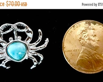 MOTHERS DAY SALE Incredibly Detailed Dominican Larimar Crab Pendant in Handmade Sterling Silver Setting w/Free Sterling Silver Chain