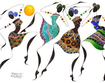 "BIKUTSI 3  African Dancers in a Set of 5  5"" X 7"" (12,5cm X 18 cm) Blank African Greeting Cards from the ""BIKUTSI""  Series, black woman art"