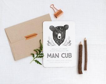 Printable Man Cub Birthday Invitation - Bear Invitation