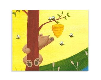 Bear Nursery Print - Woodland Wall Art - Bear Nursery Decor - Bumble Bee Wall Art