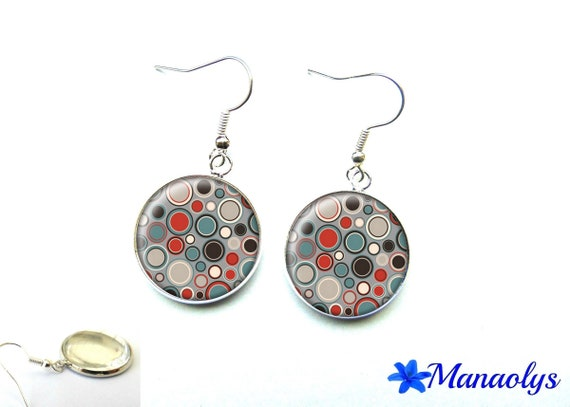 Blue, gray, black and Red polka dot glass 2691 cabochons earrings