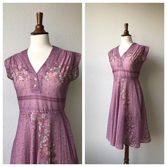 Vintage Lavendar Floral Dress 1970s by Etsy