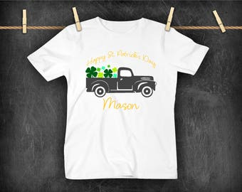 Kid St. Patrick's Day Shirt, Vintage Truck with Clover, Personalized kid Shirt, Kid Tee Shirt, Kid Happy St. Patrick's Day Shirt, Clover Kid