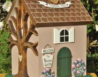 Large Card Box for Wedding Cottage Birdhouse with Hydrangea Flowers