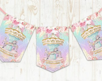 Carousel Bunting, Merry-Go-Round, Circus, Baby Shower, Nursery, 1st Birthday, Carousel Horse, Circus Theme, New Baby, Party Decoration