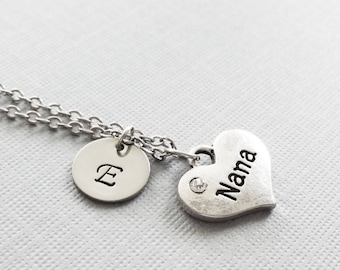 Nana Heart Necklace, Grandma Necklace, Grandmother Gift, Mothers Day Gift,Silver Jewelry, Personalized Monogram, Hand Stamped Letter Initial