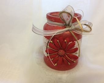 Recycled Decorated Glass Jars - Jar6