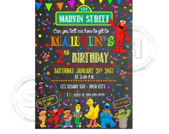 Elmo Chalkboard Printable Invitation- Personalized Elmo Birthday DIY Digital File-Sesame Street Birthday Invitation with FREE Thank you Card