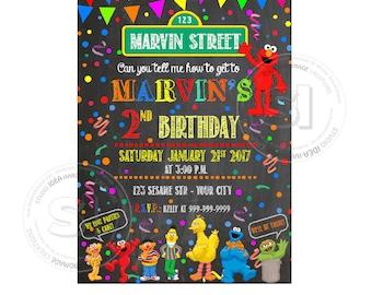 Elmo Chalkboard Printable Invitation- Personalized Elmo Birthday DIY Digital File-Sesame Street Birthday Invitation with FREE Thank you Card