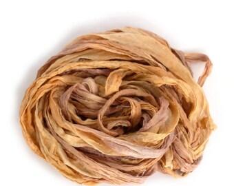 Handdyed chiffon silk ribbon recycled 10metres, Sweet Chestnut sand brown tan beige wheat, textile arts