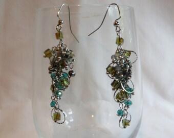 Blue Green Circle Dangle Earrings, earrings, dangle, blue, green