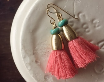 No. 014 - Coral Cotton Tassel Earrings with Raw Brass - Rajasthan