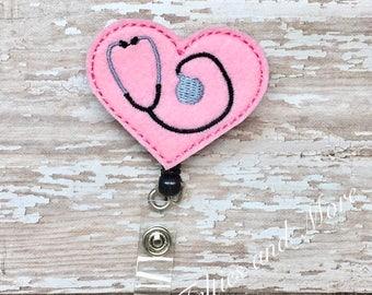 Stethoscope Badge Reel, Badge Reel, Nurse Badge Reel, RN Badge Reel, ID Badge,  Nurse Stethoscope Badge Reel, Retractable Badge Reel, Heart