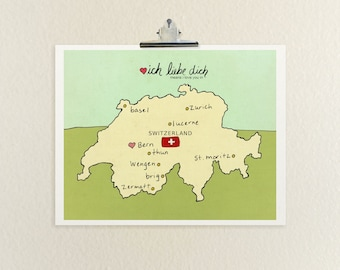 I Love You in Switzerland // Typographic Print, Digital Print, Swiss, Map, Modern Baby Nursery, Illustration, European Travel Theme Wall Art