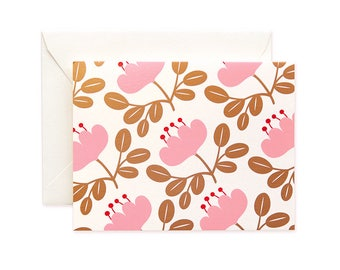 Blossom Gold Greeting Card - Pink Petal