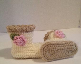 Crochet Baby Booties, 0-3 Months